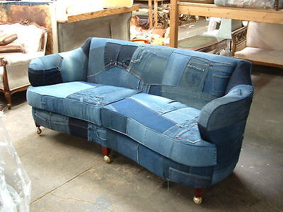 Custom Made Denim/Jeans sofa upholstered on Antique Frame-Hand Tied Springs