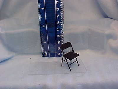 """Dollhouse Miniatures.3D Black folding chair in half inch (1/2"""")scale"""