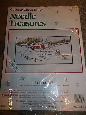 NIP Counted Cross Stitch LET IT SNOW House Snowman Pre sorted Floss
