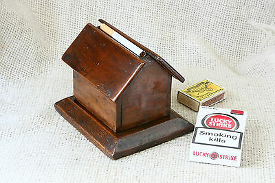 ANTIQUE VINTAGE `50s  Hand Crafted  Wooden Cigarette Box Holder - House