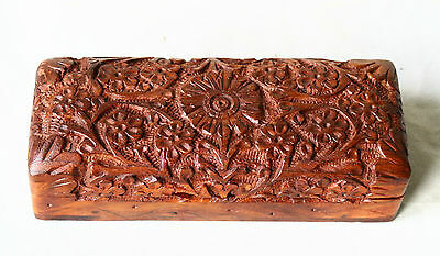 Antique VINTAGE ASIAN Hand Carved MAHOGANY Wood Trinket Jewelry Box #3