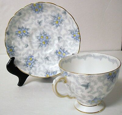 Tuscan Bone China Blue Floral Cup and Saucer England