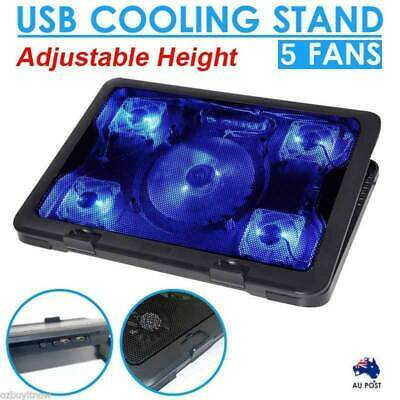 "5 Fans LED USB Adjustable Height Stand Pad Cooler For Laptop Notebook 7""-17"""