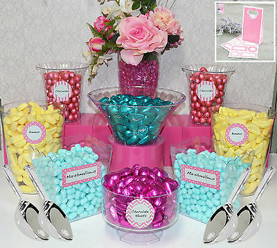 Lolly Jars Candy Buffet x 8 Plastic Jars with 4 x Scoops, 12 Labels Child Safe