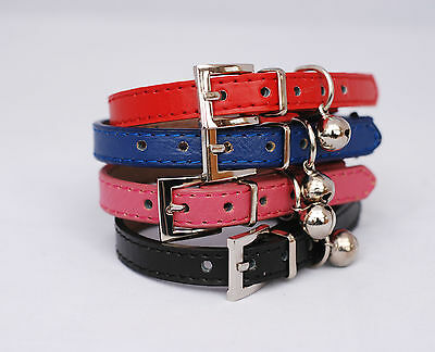 Designer Leather Cat Collar with Safety elastic and bell -  Free Postage