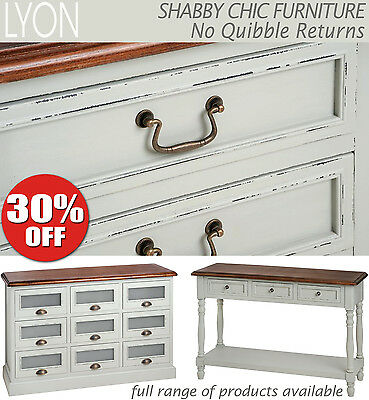 Lyon Shabby Chic furniture, Grey bedside table, chest of drawers,bench,ASSEMBLED
