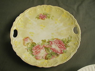 VINTAGE TRANSFER PLATE - WEIMAR GERMANY - RAISED W/ TWO HANDLES - ROSED - st