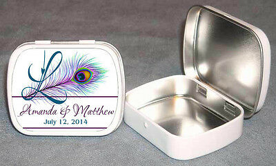 Peacock Monogram Wedding Guest Favor Mint Tin Personalized