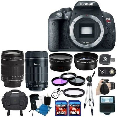 Canon EOS Rebel T5i 700D SLR Camera + 4 Lens 18-135 STM 55-250 +32GB KIT & More