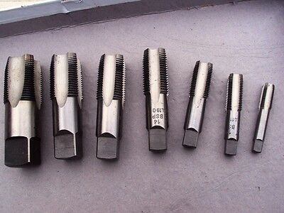 """Pipe Thread Taps BSP parallel  in 1/8-1/4-3/8-1/2-5/8-3/4-1"""" one each size 7pcs"""