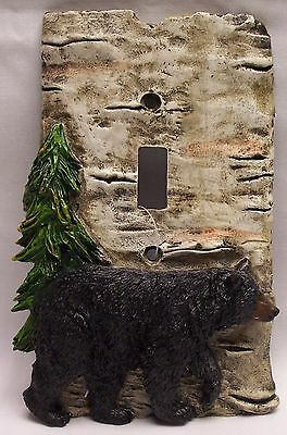 Black Bear & Birch Wood Look Single Light Switch Plate Cover Rustic   - (NAW)