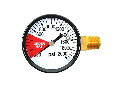 "Co2 High Pressure Replacement Gauge 0-2000 Psi 1/4"" Npt Lh Threads Home Brew"