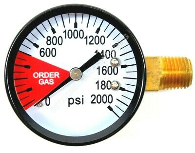 """Co2 High Pressure Replacement Gauge 0-2000 Psi 1/4"""" Npt Rh Threads Home Brew"""