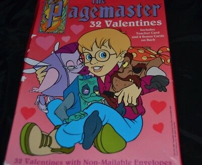 Vtg Movie THE PAGEMASTER 32 Paper VALENTINES Boxed Cards RARE Macaulay Culkin
