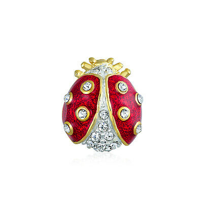 Bling Jewelry Gold Plated Red Enamel Crystal Insect Bug Ladybug Brooch Lapel Pin