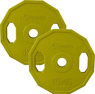 BodyRip 2 X 15Kg Olympic Polygonal Colour Coded Weight Plates Lifting Workout