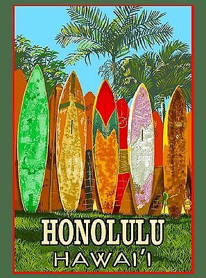 Oahu Honolulu Surfboards Beach Hawaii United States Travel Advertisement Poster