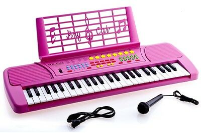Children 49 Keys Electronic Piano Music Keyboard Pink With Microphone
