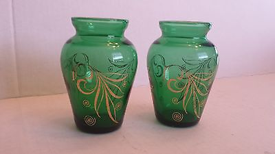 2 PAIR VINTAGE FOREST GREEN GLASS VASES Anchor Hocking GOLD INLAY DESIGNS Floral