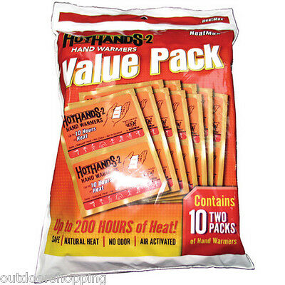 HOTHANDS 2 VALUE PACK 10 PAIR - Up To 200 Hours Of Heat, Air Activated