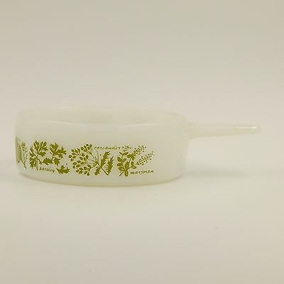Glasbake McKee Herb French Individual Casserole Dish Bowl Handle Glass Ovenware