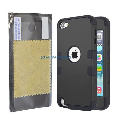 For iPod Touch 5th Gen-HARD&SOFT RUBBER HIGH IMPACT ARMOR CASE BLACK HYBRID+Film