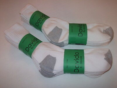 Davido Mens socks crew long 100% cotton made in Italy white/gray 6 pack 9-11