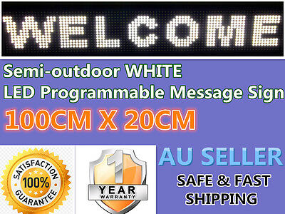 Semi-outdoor WHITE LED Programmable Message Sign Scrolling Display board P10 AU