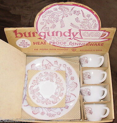 Vintage Federal Milk Glass White Oven Ware Dinner Service Snack Set Fire King