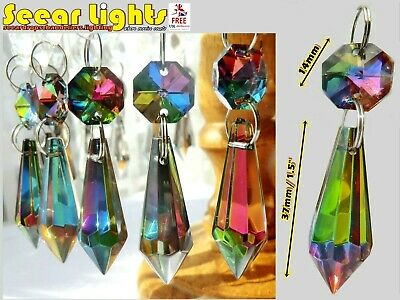 IRIDESCENT BEADS CHANDELIER CUT GLASS CRYSTALS x5 TORPEDO DROPLETS RETRO COLOUR