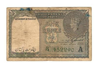 Pakistan P-1  First Issue 1 Rupee  1947  KGVI  India !!!