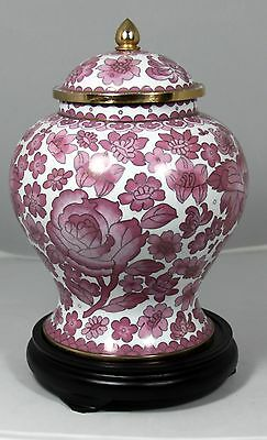 """Large (11.75"""" H) Chinese Cloisonne Ginger Jar """"Outstanding"""" (Screw Top) w/ Stand"""