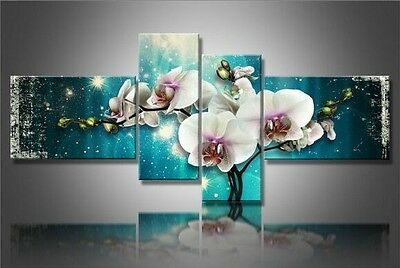 OIL PAINTING MODERN ABSTRACT WALL DECOR ART CANVAS,Flower 4pc (No stretch)