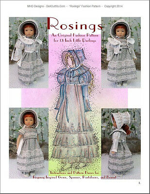 """""""Rosings"""" Fashion Pattern for Dianna Effner's 13 Inch Little Darlings"""