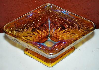 Collectible Vitnage Carnival Glass Yellow Floral Designed Candy Dish ~Ss2~
