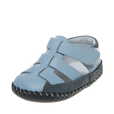Baby Boys Infant Toddler Kids Children's Blue&Grey REAL Leather & Suede Shoes