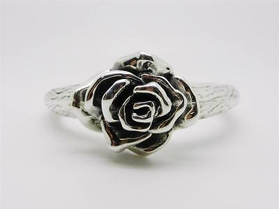925 Sterling Silver Vintage Rose Flower Bangle Bracelet - Size 7  -  Lb-C0593