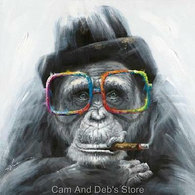 Monkey Smoking Cigar Stretched Canvas Print Picture Wall Art 80 cm