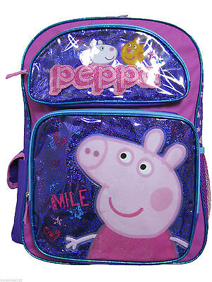 """Peppa Pig Large Backpack - 16"""" inches BRAND NEW for Girls - Licensed Product"""