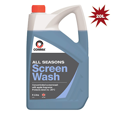 Comma Screen Wash Concentrated All Seasons Melts Ice Down to -26°C -4x5L=20L