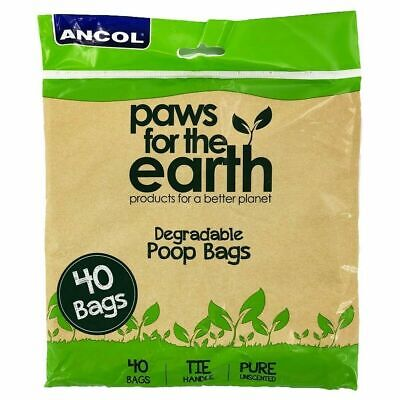 Bio Degradable Poo Bags Ancol Pack Of 40 With Tie Handles
