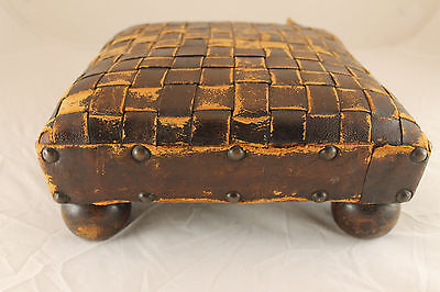 Gorgeous Antique Small Foot Stool Victorian Wood Classic 1800s Upholstered