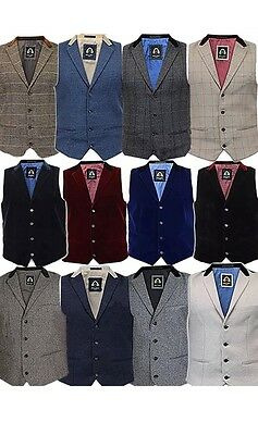 Mens Waistcoat Marc Darcy Vest Formal Herringbone Tweed Velvet Collar Check New