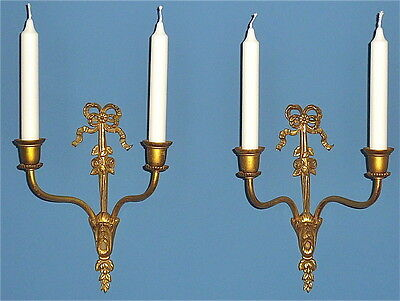 Beautiful antique Napoleon 3 PAIR gilt brass wall appliques lamp sconce baroque