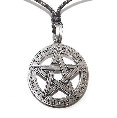 Pewter Runic Pentagram Pendant (Pentacle Rune Pagan Wiccan Gothic Necklace)