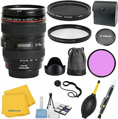 Canon EF 24-105mm L IS USM Lens Value Bundle Kit + Deluxe 3pc Filter Kit + More
