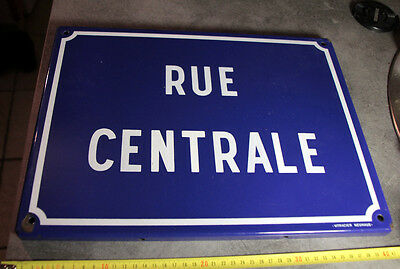 "French Enamel Street Sign, Plaque ""rue Centrale """