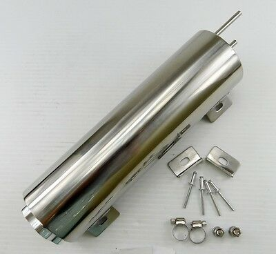 """3"""" x 10"""" POLISHED STAINLESS STEEL 32 OZ RADIATOR OVERFLOW TANK BOTTLE CATCH CAN"""
