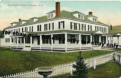 Vintage Old Photo Postcard Rockwell Hotel Lake Luzerne Warren County New York