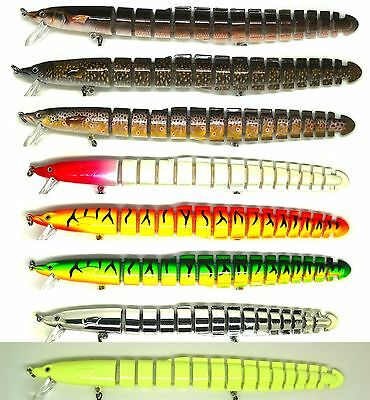 "8"" Bass Striper Fishing Bait Swimbait Lure Life-like Eel Loach Multi-jointed NEW"